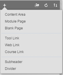 Options to edit the course menu