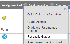 Selecting Reconcile Grades from the menu
