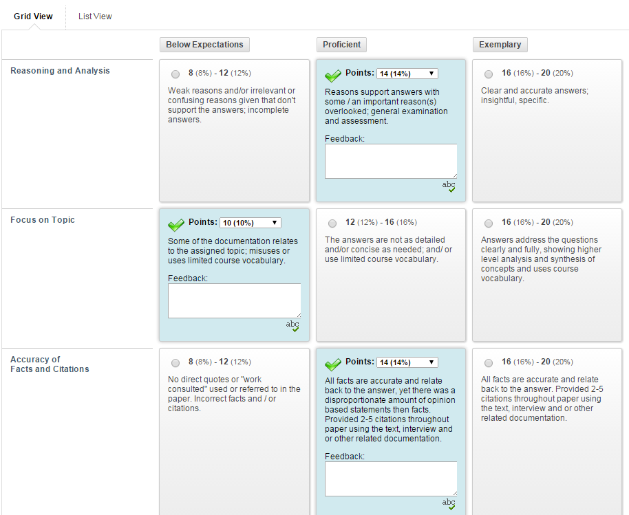 Viewing and marking the rubric in Grid View