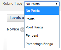 Selecting a rubric type