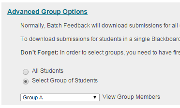 Batch Feedback - Advanced Group Options