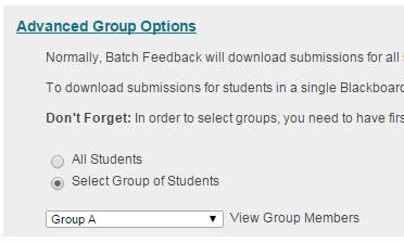 Batch Feedback - Advanced Group Options