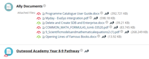 Screenshot from Blackboard VLE showing Ally score indicators and download icons.