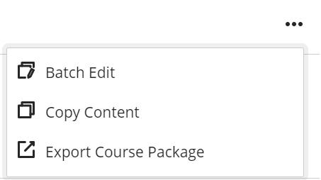 Course Content Options Menu