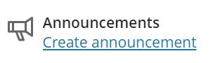 Create Announcement link