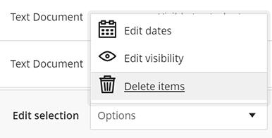 Edit Selection Options Menu