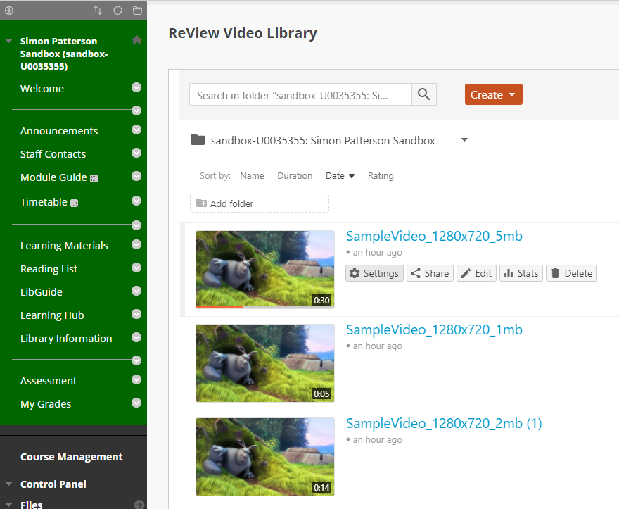 ReView Video Library Panel