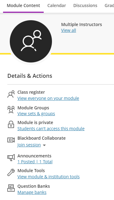 Blackboard Ultra Details and Actions Panel
