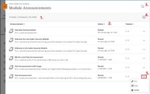 Image of Course Announcements Page