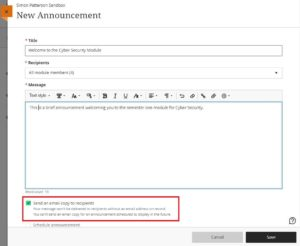 Image demonstrating how to schedule an automatic announcement in BBU