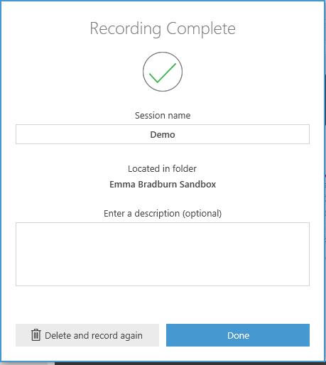 Recording Complete window